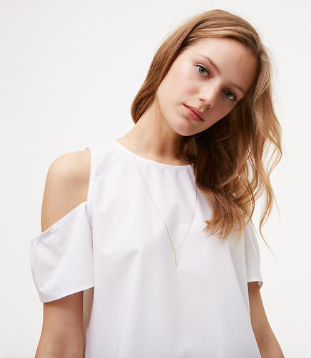 Image of Back Button Cold Shoulder Top