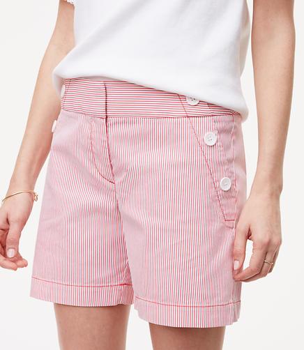 Image of Seersucker Sailor Riviera Shorts with 6 Inch Inseam