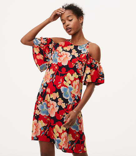 Image of Tall Tropic Cold Shoulder Swing Dress