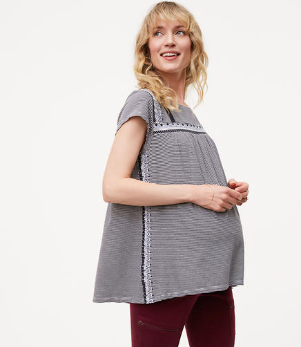 Petite Maternity Striped Lace Trim Tee