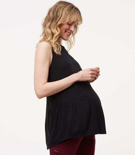 Image of Petite Maternity Peplum Shell