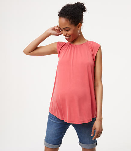 Image of Petite Maternity Flutter Tassel Tie Back Top