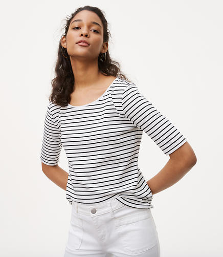 Image of Striped Elbow Sleeve Tee