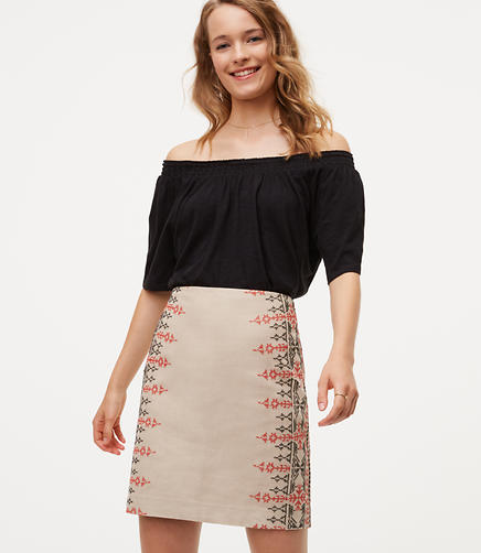 Image of Embroidered Cotton Linen Skirt