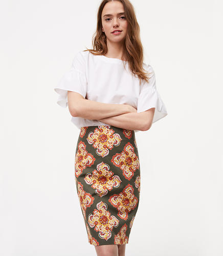 Image of Petite Floral Medallion Pencil Skirt