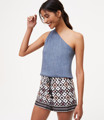 Image of Patchwork Fluid Drawstring Shorts