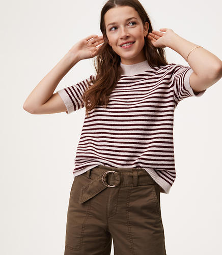 Striped Mockneck Short Sleeve Sweater