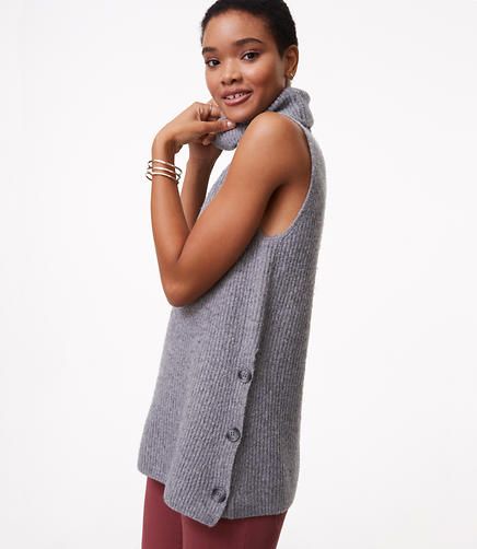 Side Button Sleeveless Tunic Sweater
