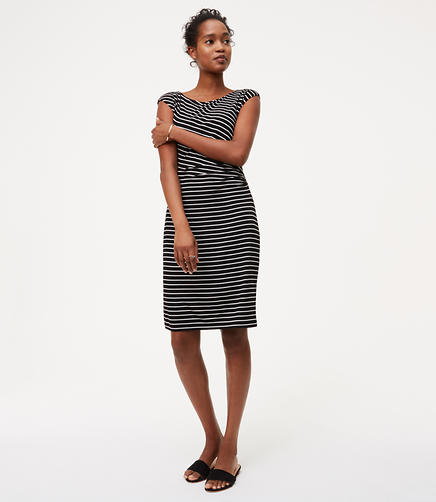 Image of Striped Side Shirred Dress