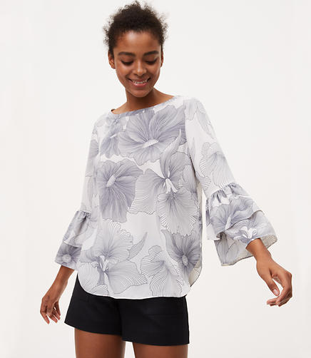 Image of Hibiscus Tiered Bell Sleeve Top