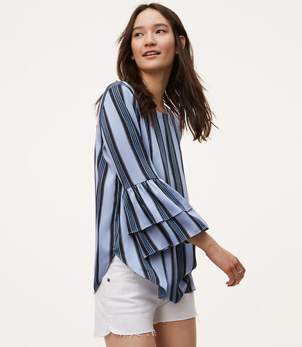 Image of Ocean Stripe Tiered Bell Sleeve Top
