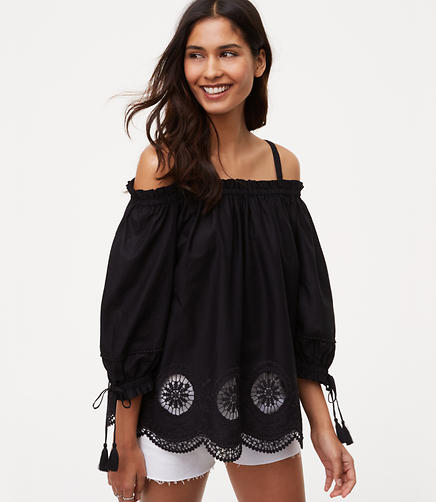 Image of Petite Embroidered Off The Shoulder Blouse