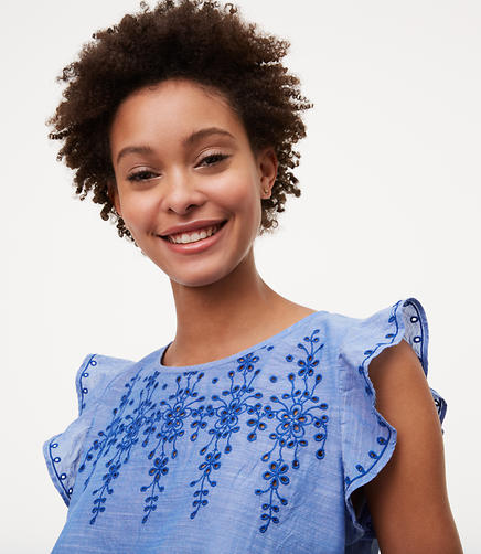 Image of Petite Chambray Embroidered Flutter Top
