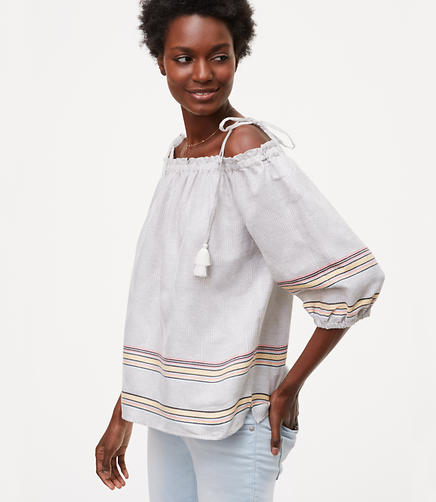 Image of Petite Striped Tassel Off The Shoulder Top