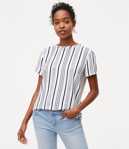 Image of Petite Striped Back Pleat Top