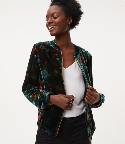 Image of Floral Velvet Bomber Jacket