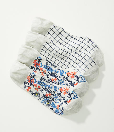 Image of Grid & Floral No Show Sock Set