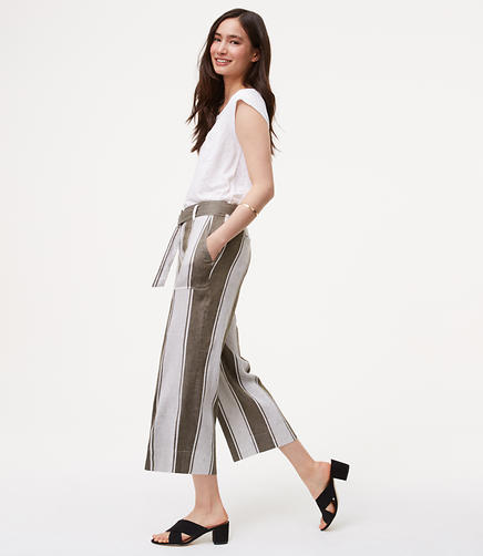 Image of Petite Stripe Belted Culottes