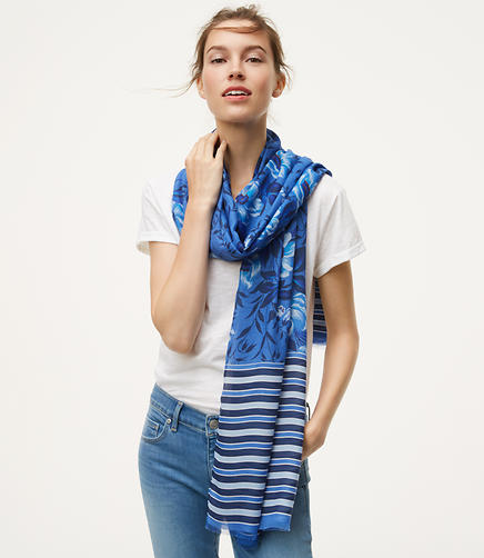 Image of Floral Striped Scarf