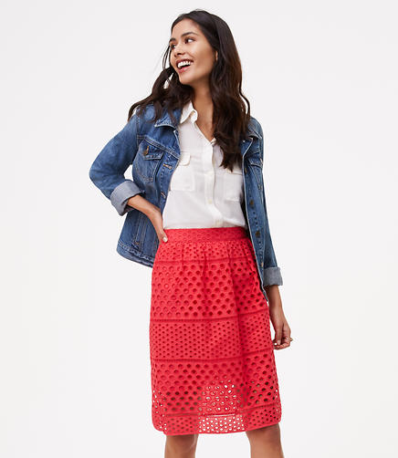 Image of Striped Eyelet Skirt