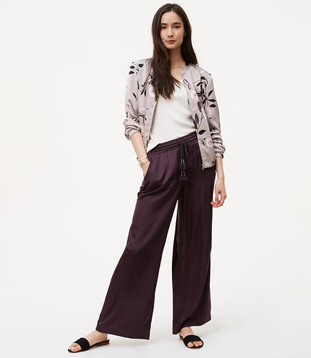 Image of Petite Sateen Fluid Drawstring Pants