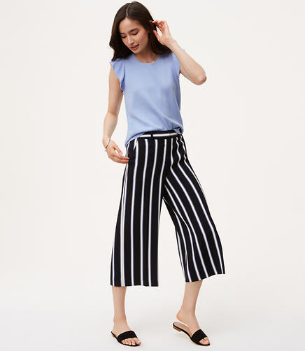 Image of Petite Striped Culottes