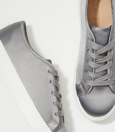 Image of Satin Lace Up Sneakers