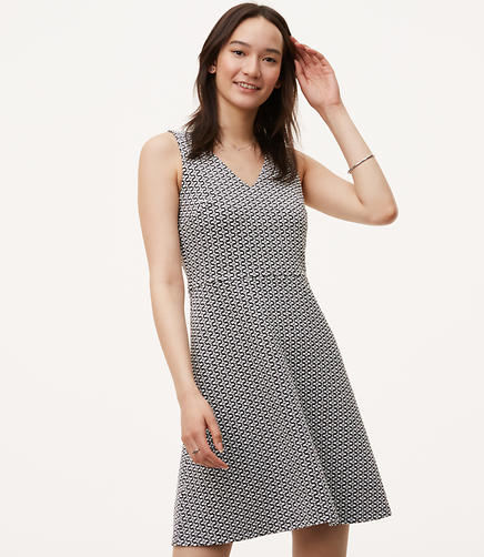 Image of Mosaic Jacquard Flare Dress