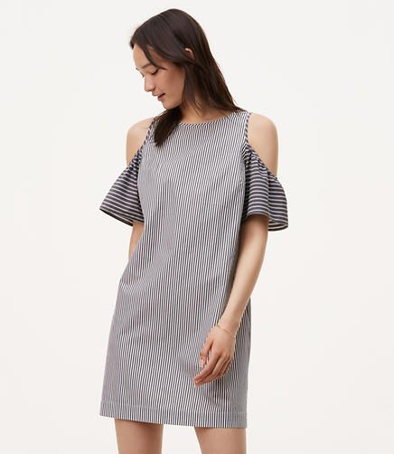 Image of Petite Striped Cold Shoulder Shift Dress