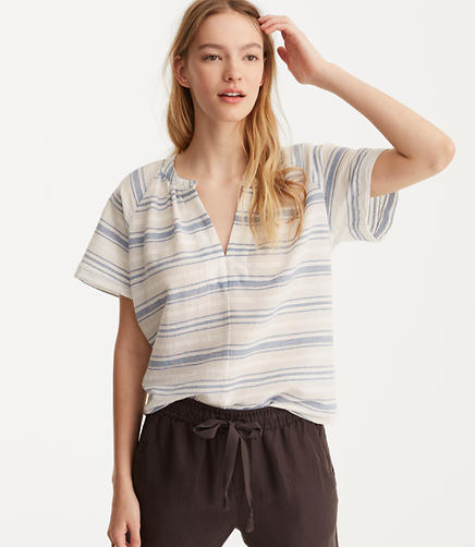 Image of Lou & Grey Striped Cropped Pop-On Shirt