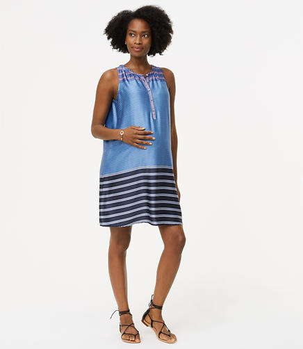 Image of Maternity Mixed Stripe Henley Swing Dress
