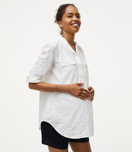 Image of Maternity Eyelet Utility Blouse