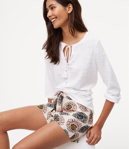 Image of Petite Marigold Tie Waist Shorts