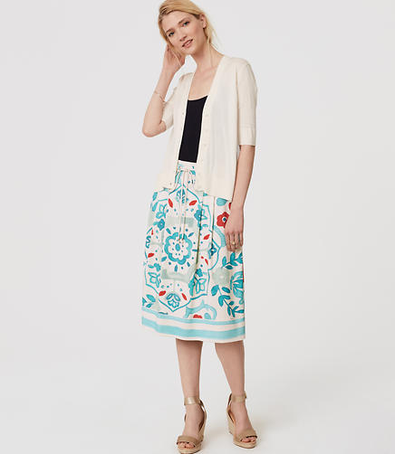 Image of Watercolor Floral Drawstring Skirt