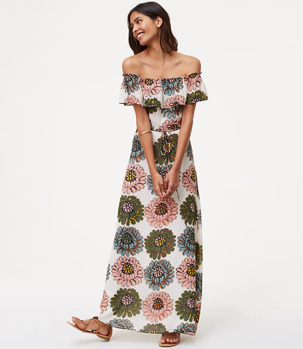Image of Petite Marigold Off The Shoulder Maxi Dress