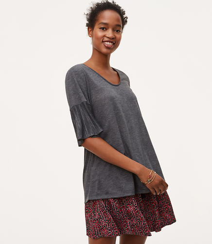Image of Petite Mixed Media Pleated Sleeve Tee