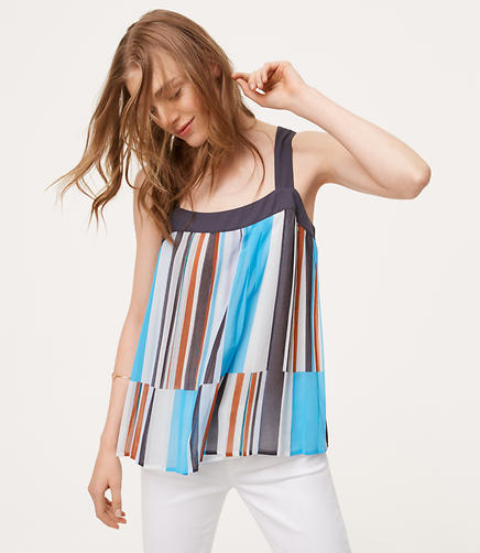 Image of Petite Mixed Stripe Pleated Tank