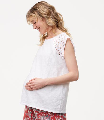 Image of Maternity Eyelet Flutter Tee