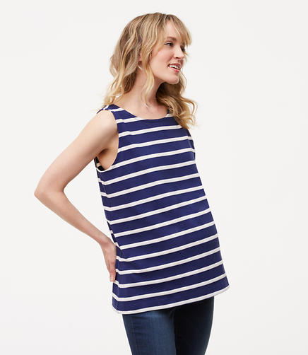 Image of Maternity Striped Tie Back Shell