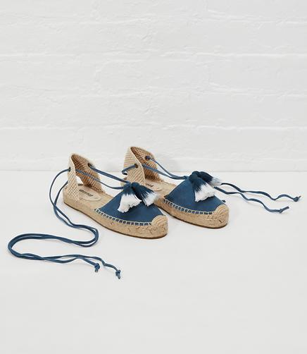Image of Soludos Tassel Embellished Suede Platform Gladiator Sandal
