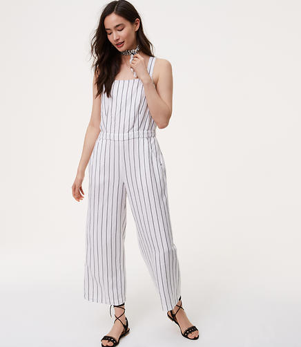 Image of Petite Striped Apron Jumpsuit