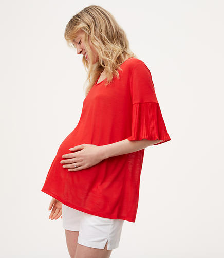 Maternity Mixed Media Pleated Sleeve Tee