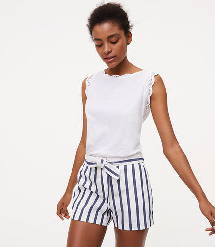 Image of Striped Tie Waist Riviera Shorts