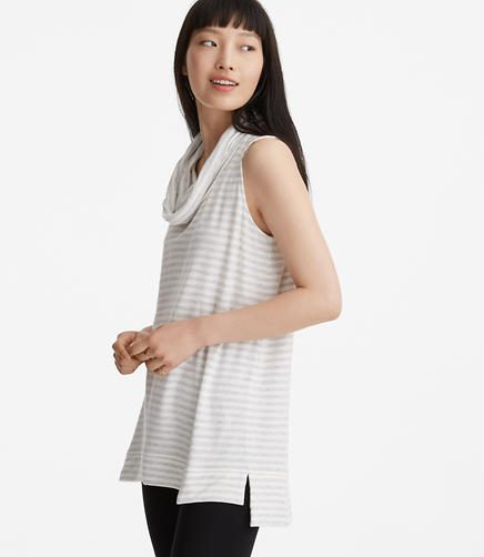 Lou & Grey Striped Signaturesoft Sleeveless Cowl Tunic