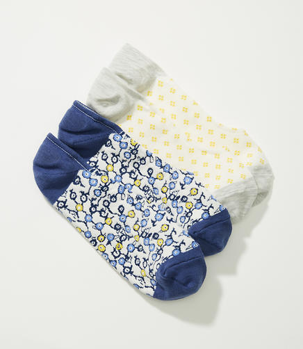 Mini Floral & Mosaic No Show Sock Set