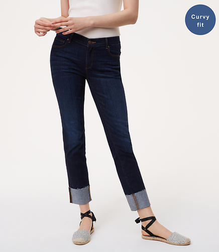 Image of Curvy Frayed Cuff Straight Leg Jeans in Super Dark Indigo Wash