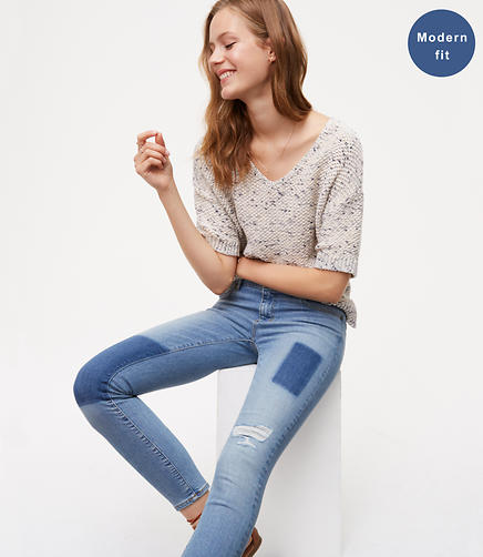 Image of Modern Destructed Skinny Jeans in Vivid Indigo Wash
