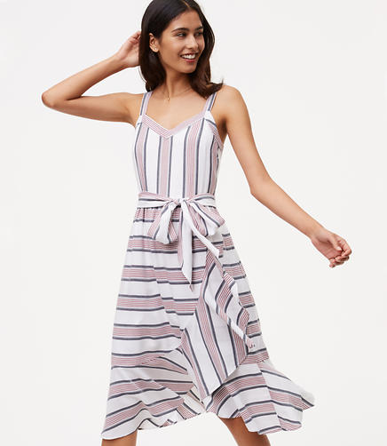 Image of Striped Ruffle Wrap Dress