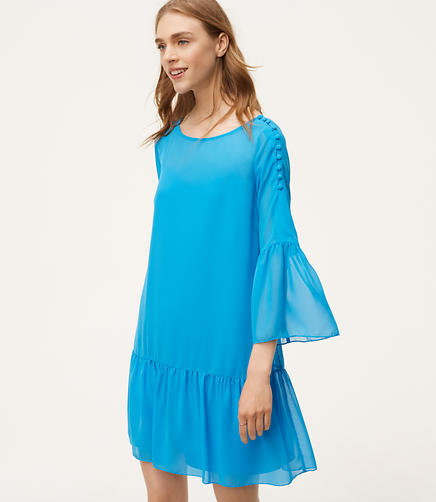 Shoulder Button Flounce Dress