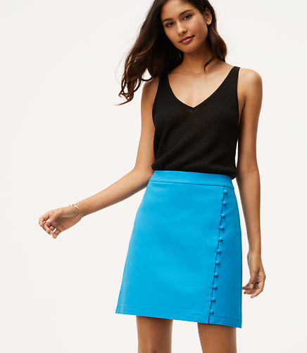 Image of Button Trim Wrap Skirt